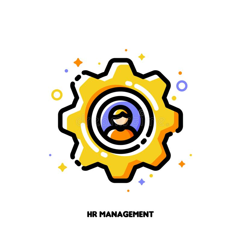 Icon of yellow gear with employee silhouette for human resources management concept. Flat filled outline style. Pixel perfect. 64x64. Editable stroke royalty free illustration