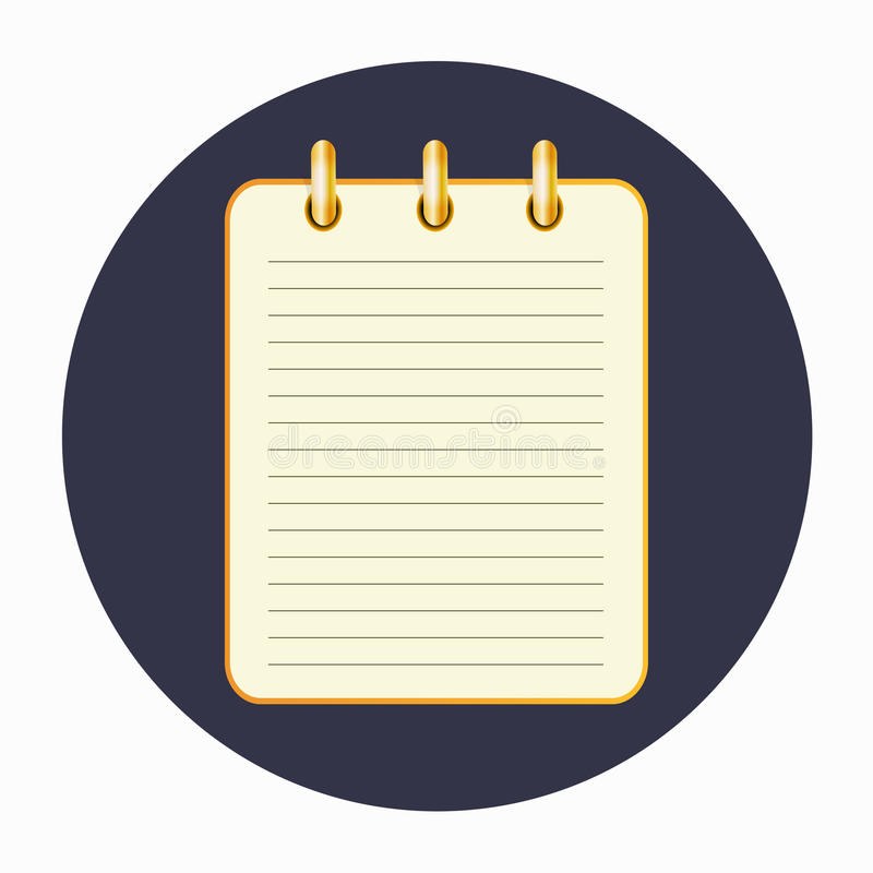 Icon of the yellow notepad on the rings. Yellow notepad on the rings with lines. Blank sheet on the dark blue background. School business diary. Template can be royalty free illustration