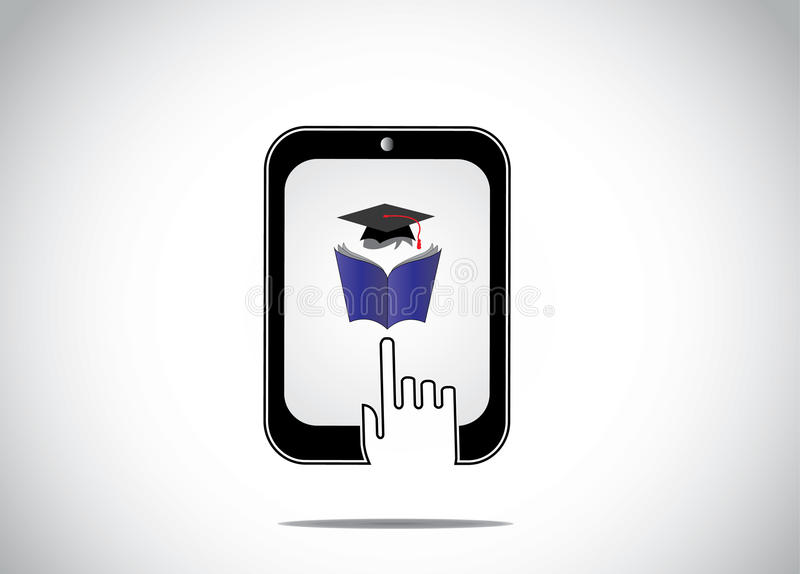 Icon of young student reading book with graduation cap in a tablet and a white hand silhouette touching stock illustration