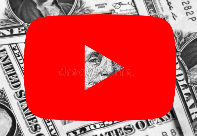 Youtube icon logo money. Icon of Youtube website on dollar bills money background royalty free stock photography