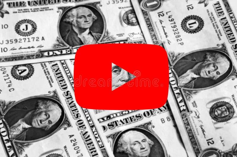 Youtube icon logo. Icon of Youtube website on dollar bills money background royalty free stock photos