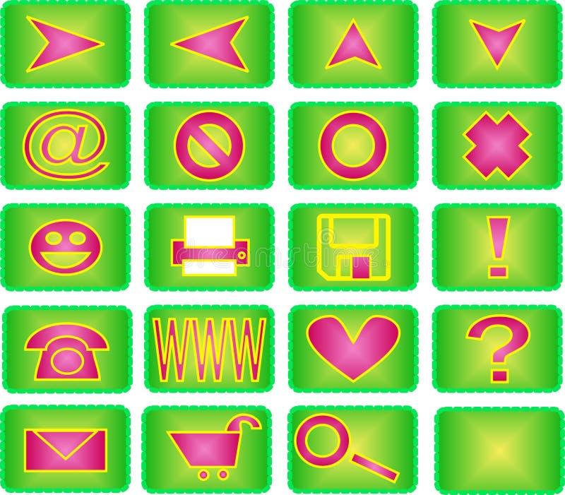icona 20 impostata (verde e colore rosa) royalty illustrazione gratis