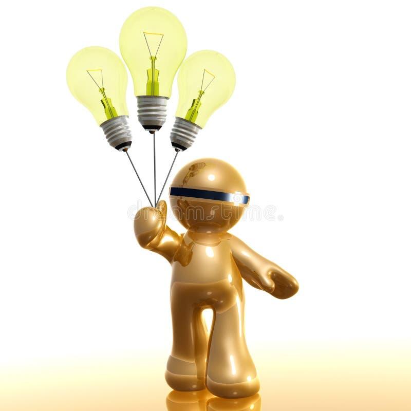 icona 3d con l'aerostato della lampadina di idea illustrazione di stock