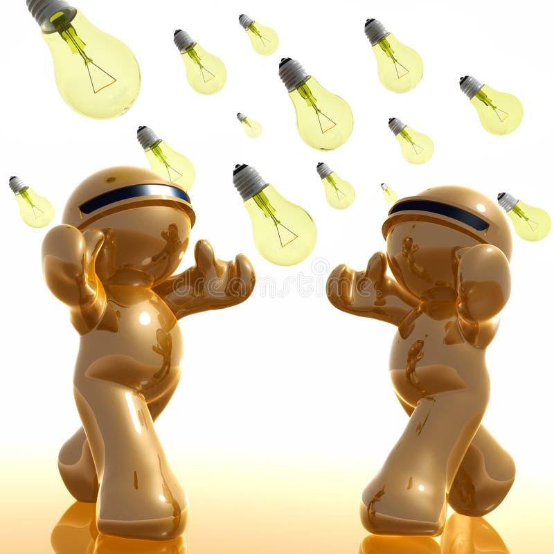 icona 3d con la pioggia della lampadina di idea illustrazione di stock