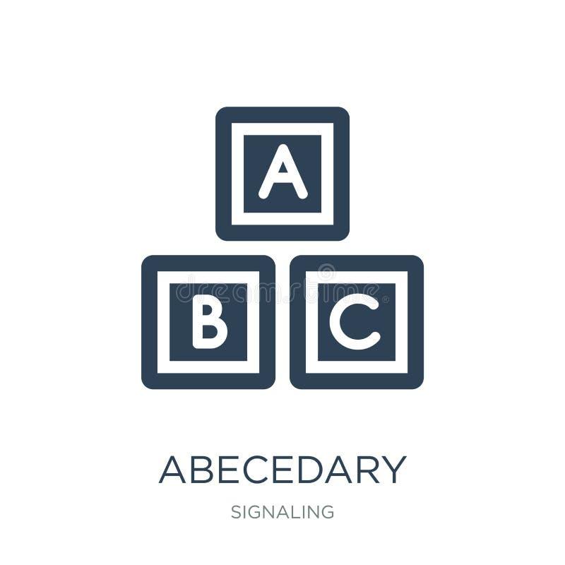 icona abecedary nello stile d'avanguardia di progettazione icona abecedary isolata su fondo bianco piano semplice e moderno dell' illustrazione di stock