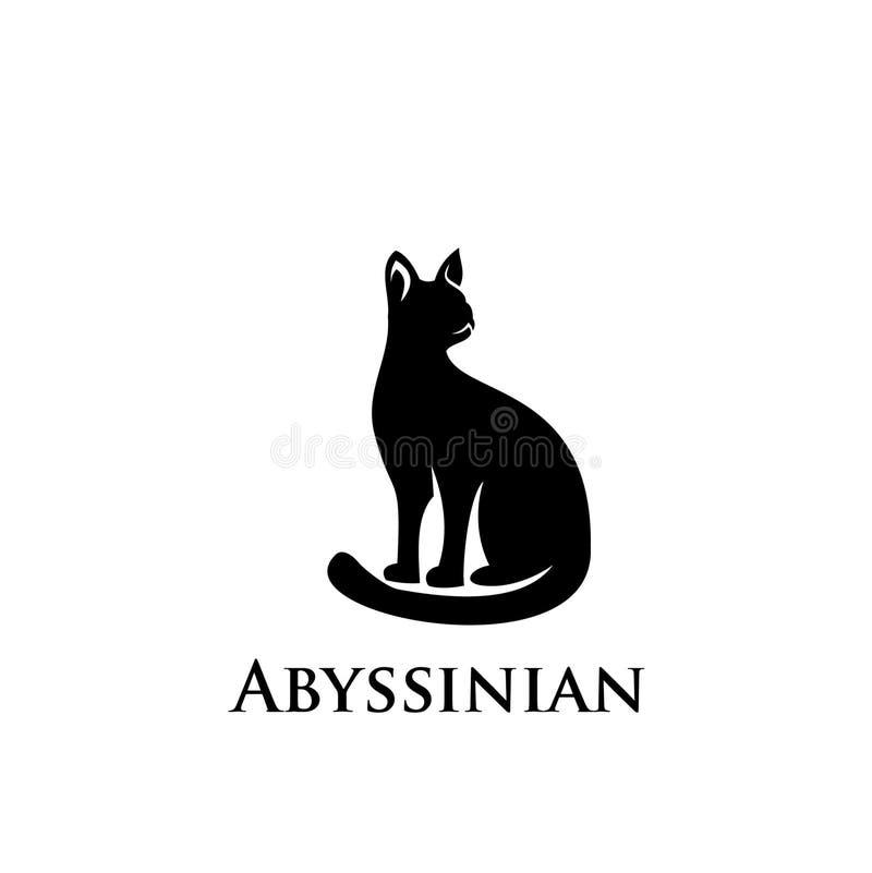Icona abissina di logo del gatto illustrazione di stock