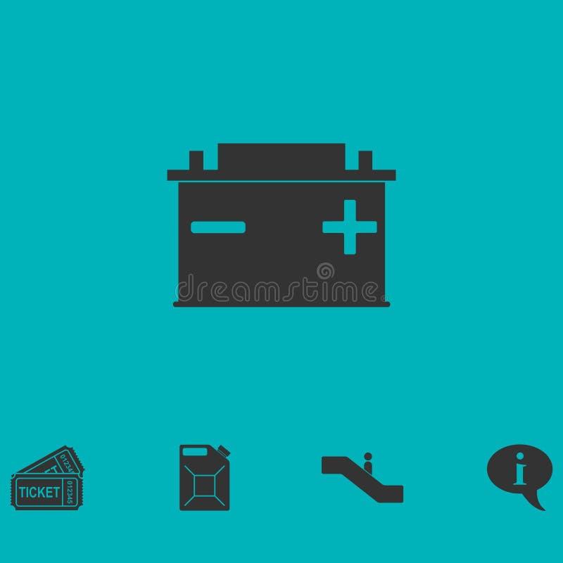 Icona accumulatore per di automobile piana illustrazione di stock