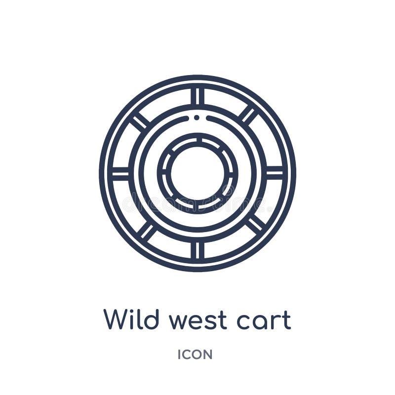 Icona ad ovest selvaggia lineare del carretto dalla raccolta del profilo del deserto Linea sottile vettore ad ovest selvaggio del illustrazione vettoriale