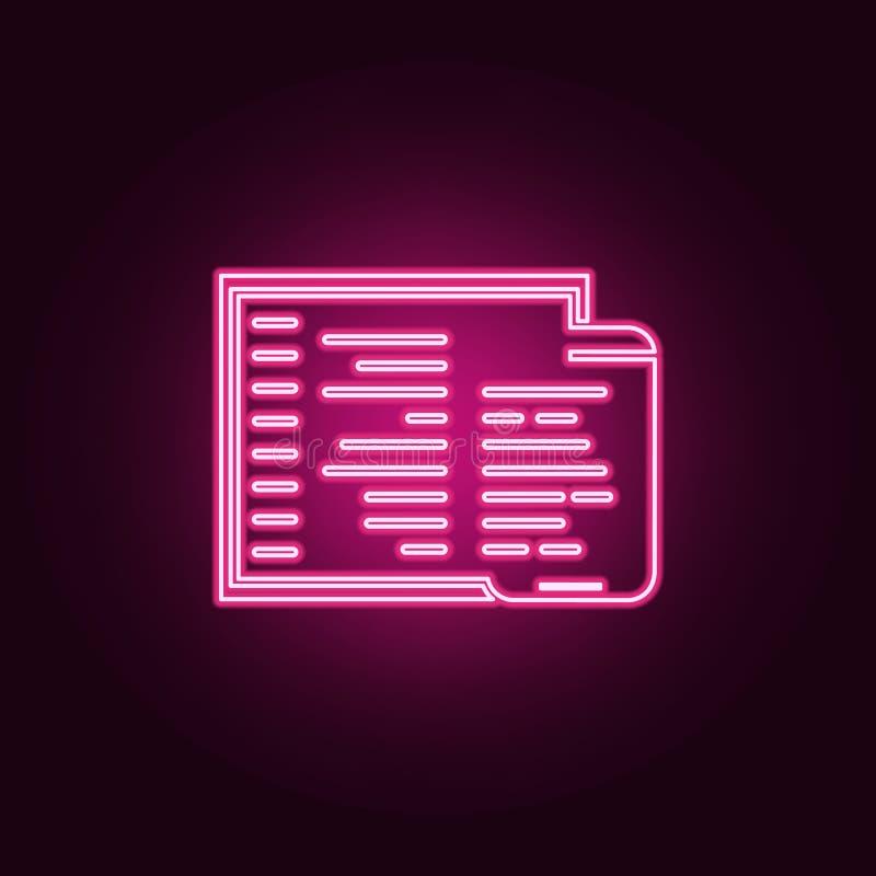 icona adattabile di codifica Elementi di sviluppo Web nelle icone al neon di stile E illustrazione vettoriale