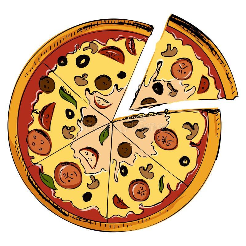 Icona affettata della pizza illustrazione di stock