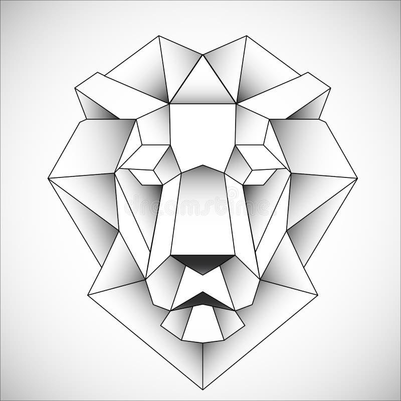 Icona africana della testa del leone Stile triangolare astratto Contorno per il tatuaggio, il logo, l'emblema e l'elemento di pro illustrazione di stock