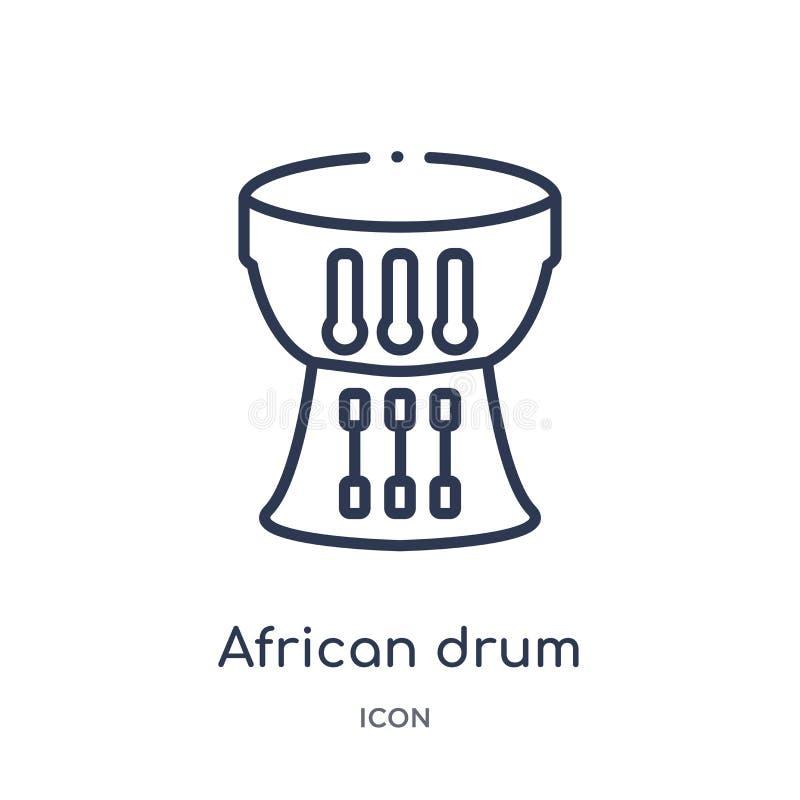 Icona africana lineare del tamburo dalla raccolta del profilo dell'Africa Linea sottile vettore africano del tamburo isolato su f royalty illustrazione gratis
