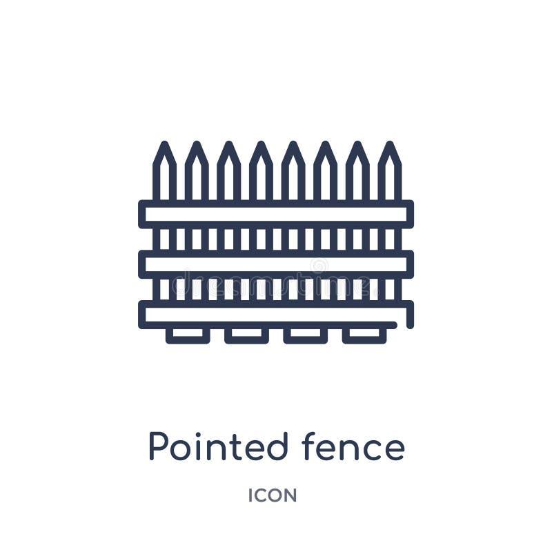 Icona aguzza lineare del recinto dalla raccolta del profilo generale La linea sottile ha indicato l'icona del recinto isolata su  royalty illustrazione gratis