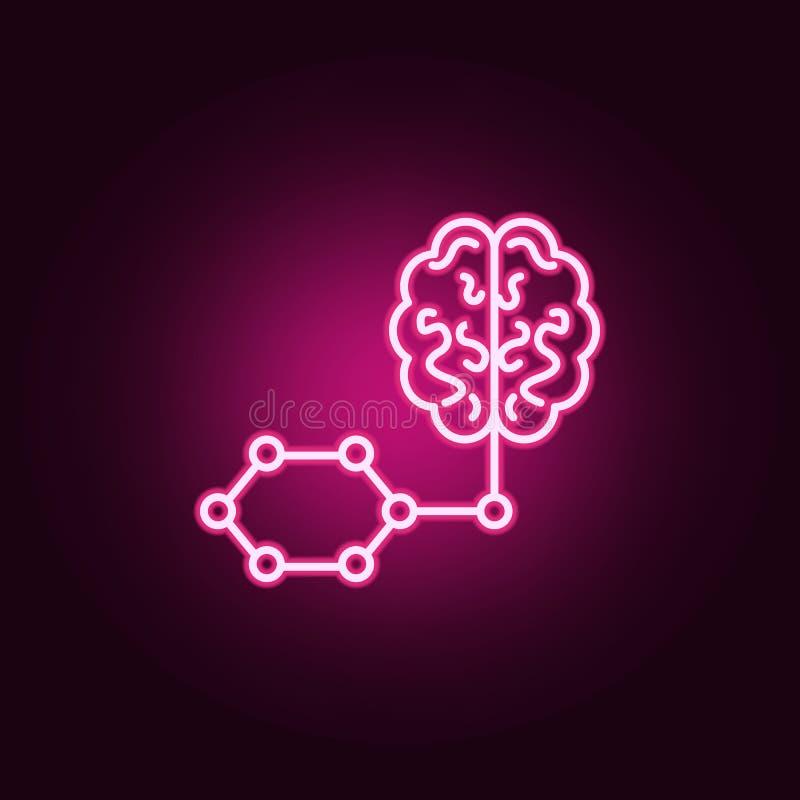 Icona al neon astuta di intelligenza artificiale del cervello Elementi dell'insieme di intelligenza artificiale Icona semplice pe illustrazione vettoriale