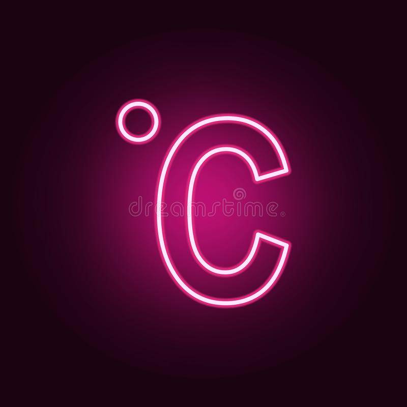 Icona al neon centigrado Elementi dell'insieme di web E illustrazione di stock