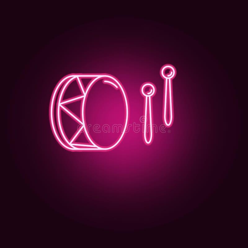 icona al neon dei bastoni e del tamburo Elementi dell'insieme di religione E royalty illustrazione gratis