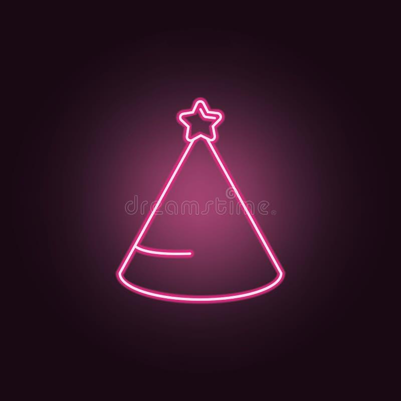 Icona al neon del cappello del partito Elementi dell'insieme del partito E illustrazione vettoriale