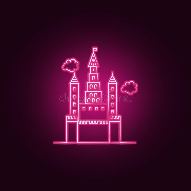 Icona al neon del castello immaginario Elementi dell'insieme immaginario della casa E illustrazione vettoriale