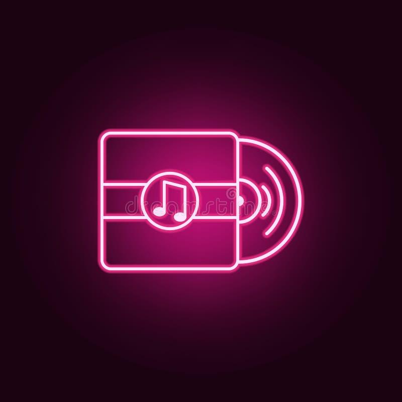 icona al neon del disco Elementi dell'insieme di web E royalty illustrazione gratis