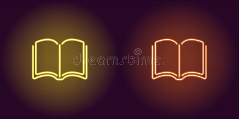 Icona al neon del libro giallo ed arancio royalty illustrazione gratis