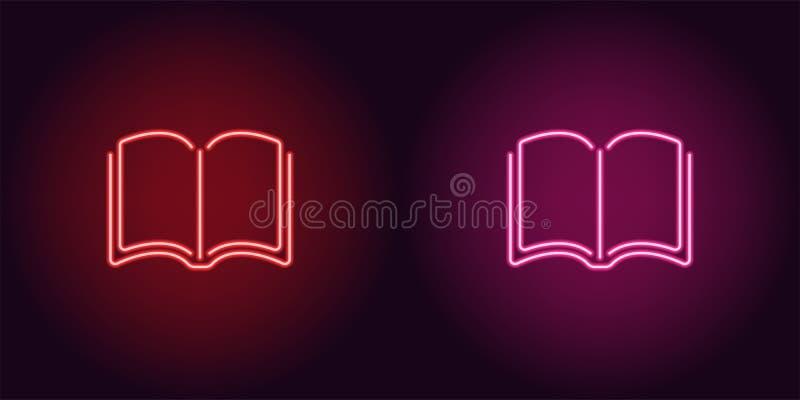 Icona al neon del libro rosso e rosa illustrazione di stock