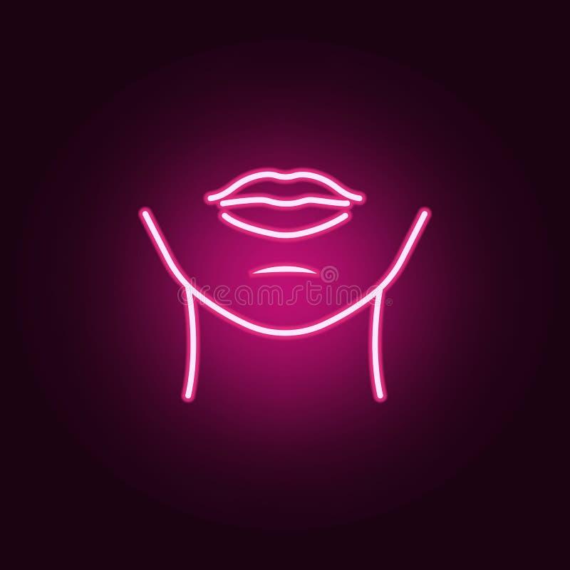 icona al neon del mento della donna Elementi dell'insieme delle parti del corpo E royalty illustrazione gratis