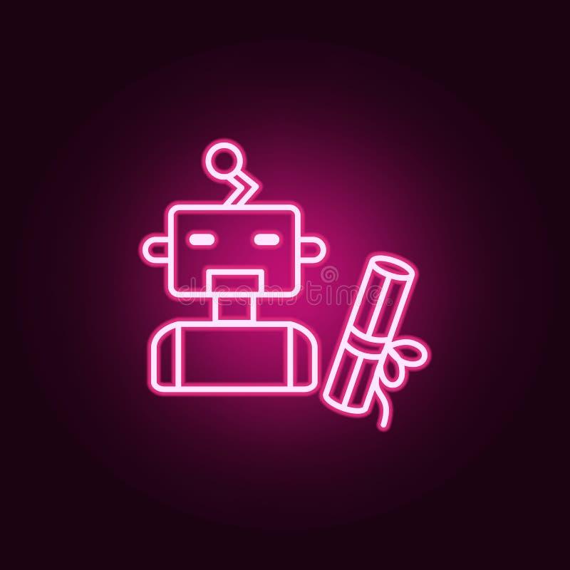 Icona al neon del robot di intelligenza artificiale del diploma Elementi dell'insieme di intelligenza artificiale Icona semplice  illustrazione vettoriale