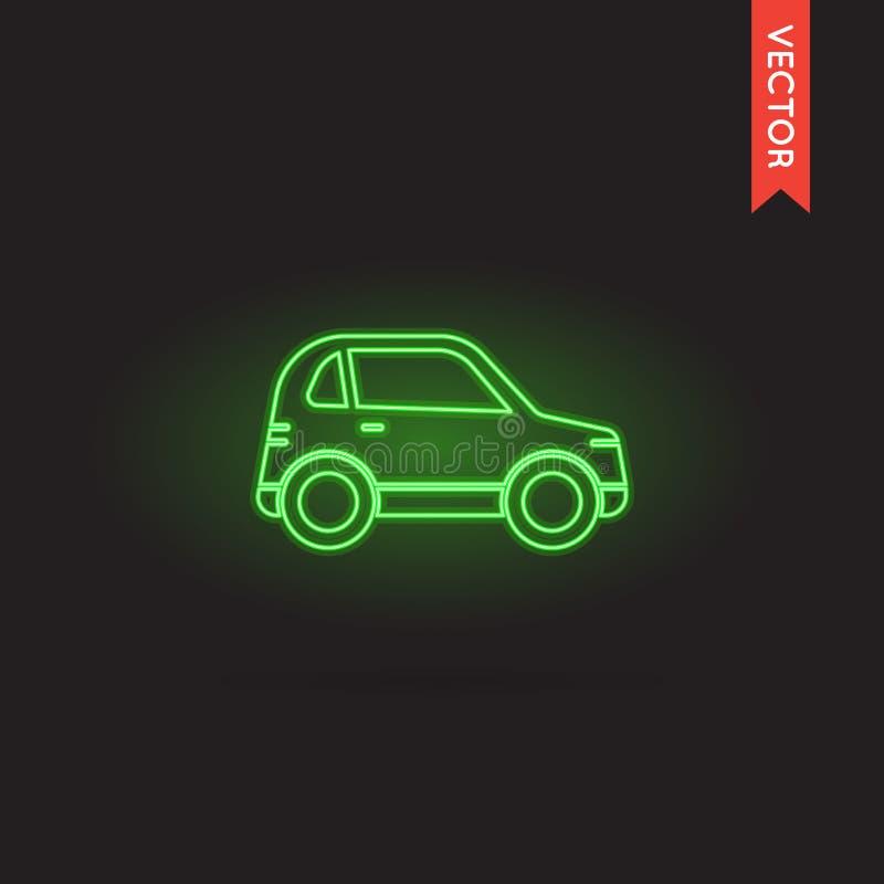 Icona al neon dell'automobile, vettore dell'icona dell'automobile, oggetto dell'icona dell'automobile, immagine dell'icona dell'a illustrazione vettoriale