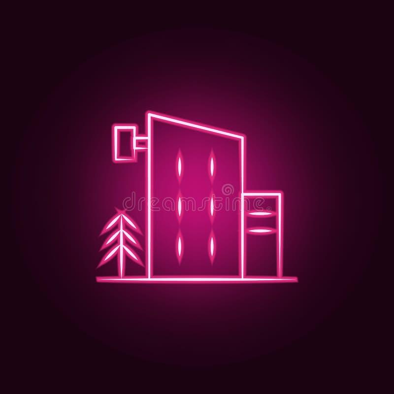 icona al neon dell'hotel Elementi dell'insieme di viaggio E illustrazione vettoriale