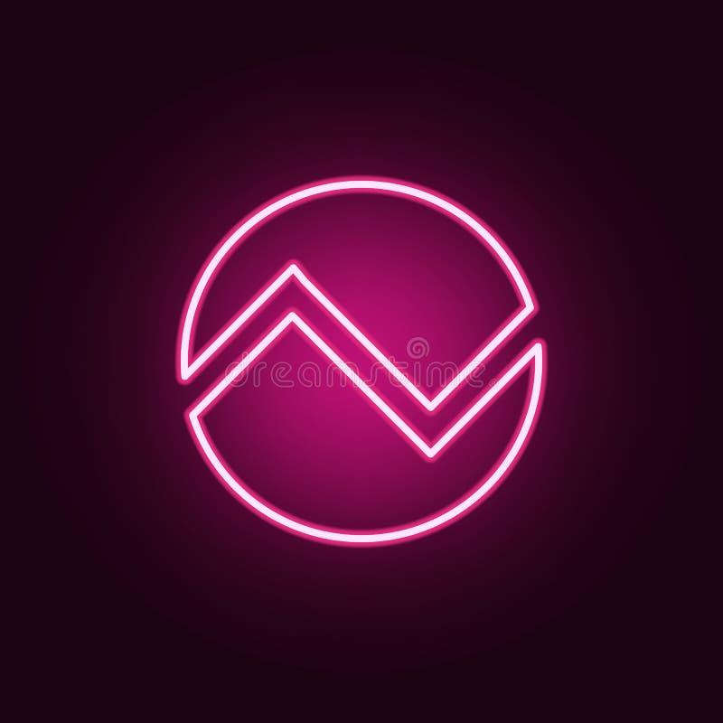 icona al neon della base di dati Elementi di online ed insieme di web E illustrazione di stock