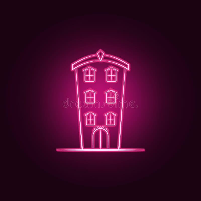 Icona al neon della casa immaginaria Elementi dell'insieme immaginario della casa E illustrazione vettoriale