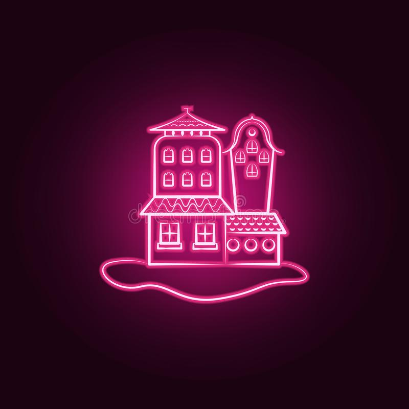 Icona al neon della casa immaginaria Elementi dell'insieme immaginario della casa E illustrazione di stock
