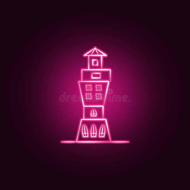 Icona al neon della casa immaginaria Elementi dell'insieme immaginario della casa E royalty illustrazione gratis