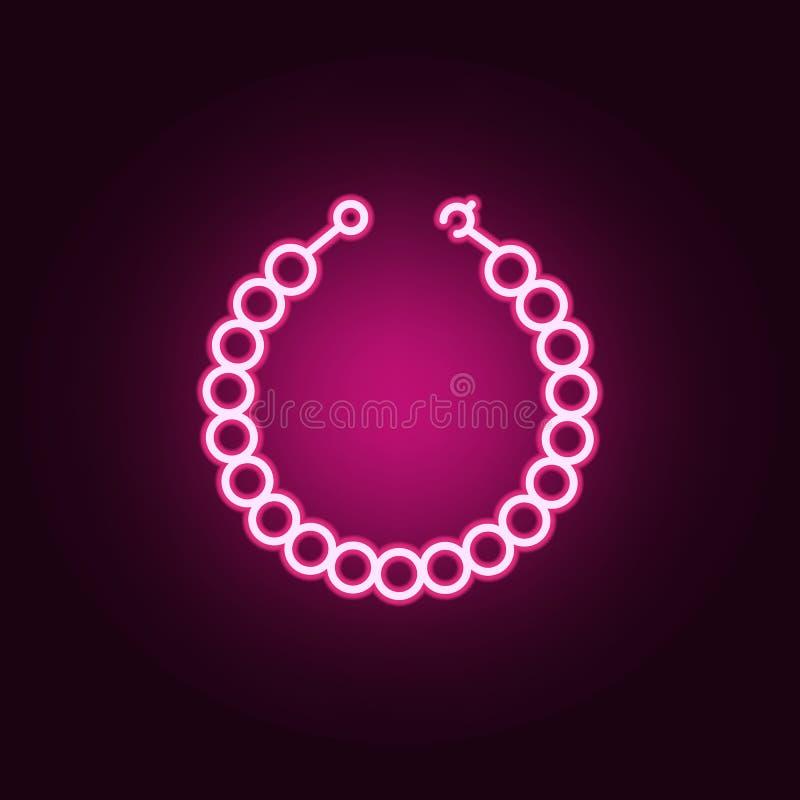 icona al neon della collana della perla Elementi dell'insieme dei gioielli E royalty illustrazione gratis