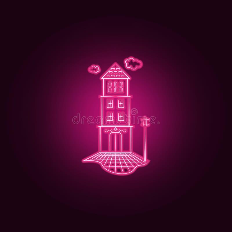 Icona al neon della lanterna domestica Elementi dell'insieme immaginario della casa E royalty illustrazione gratis