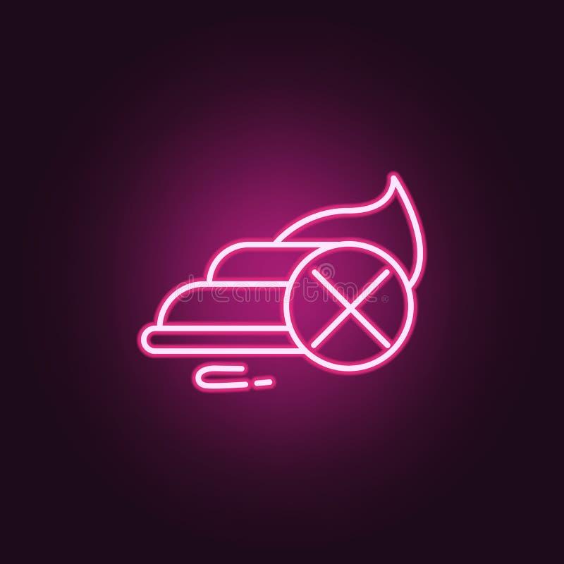Icona al neon della materozza di diarrea Elementi dell'insieme di probiotici E illustrazione di stock
