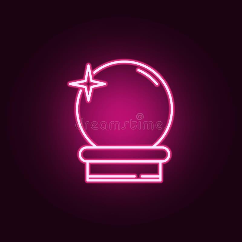 Icona al neon della palla magica Elementi dell'insieme di Halloween E illustrazione vettoriale
