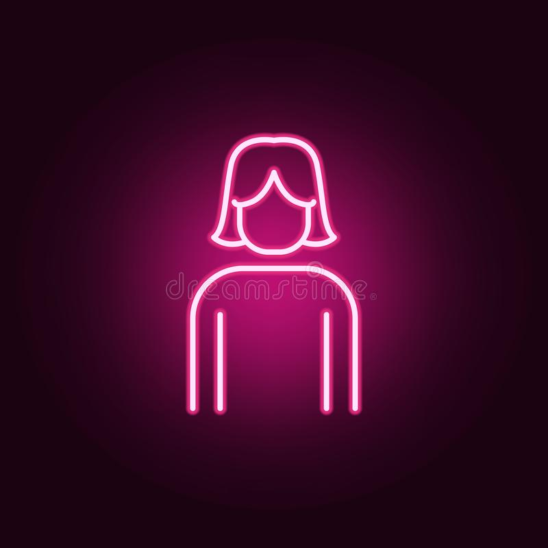 icona al neon della ragazza Elementi dell'insieme di web E illustrazione vettoriale
