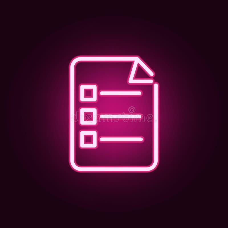 Icona al neon di risposte Elementi dell'insieme di istruzione E illustrazione di stock