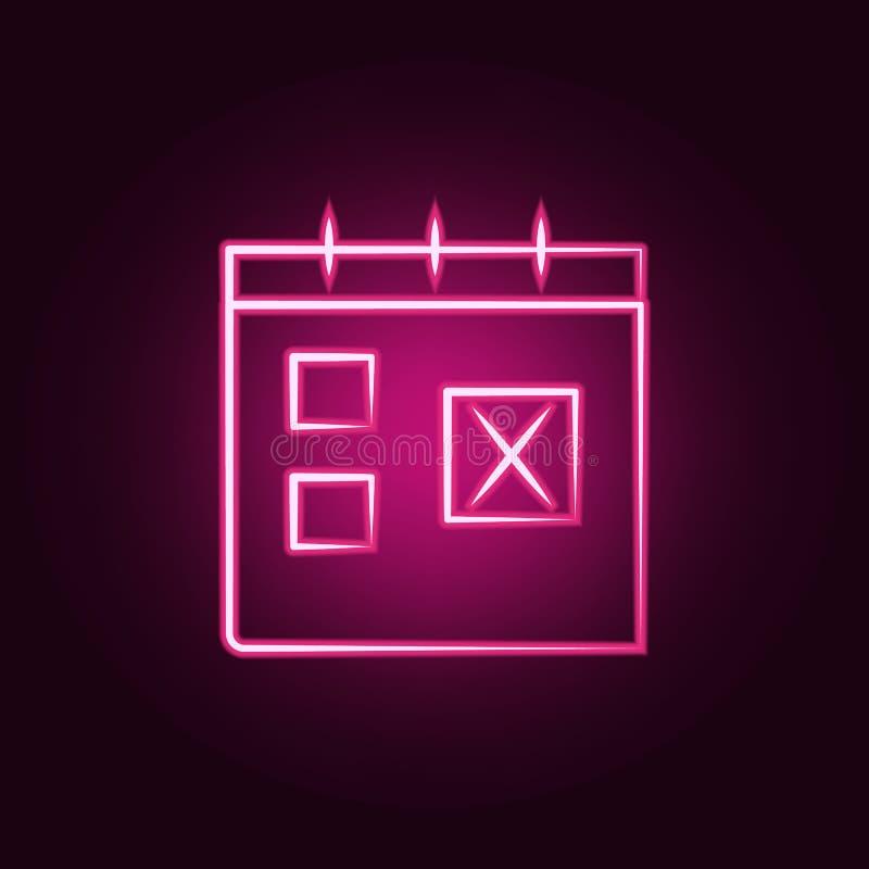 icona al neon di tempo di viaggio del calendario Elementi dell'insieme di viaggio E royalty illustrazione gratis