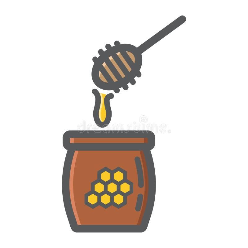Icona, alimento e bevanda del profilo riempiti siviera del miele royalty illustrazione gratis