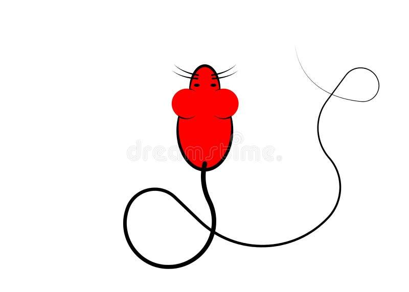 Icona alla moda di un'icona rossa del PC del topo per il web e la stampa Simbolo di Minimalistic della casa di un topo del rodito illustrazione vettoriale