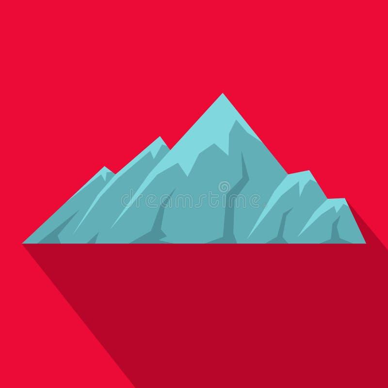 Icona alpina della montagna, stile piano royalty illustrazione gratis