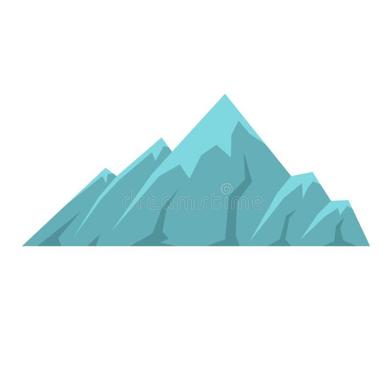 Icona alpina della montagna, stile piano illustrazione di stock
