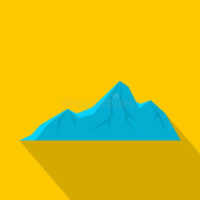 Icona alta della montagna, stile piano illustrazione di stock