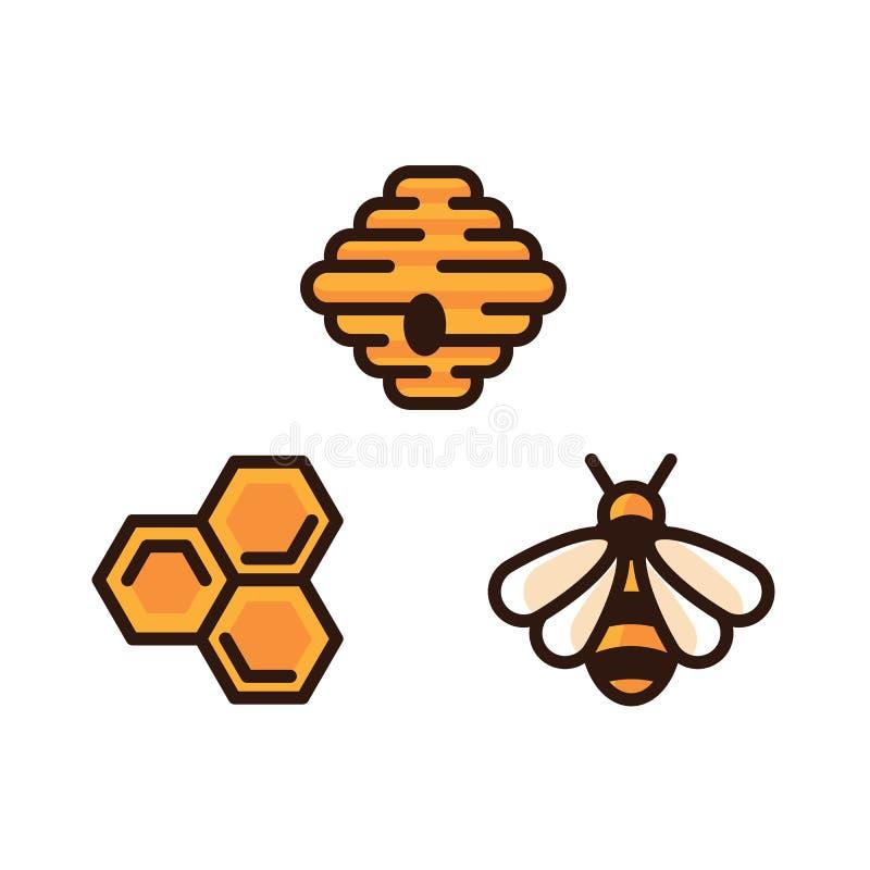 Icona, alveare giallo e favo di vettore dell'ape isolati su fondo bianco Apicoltura e concetto di produzione del miele illustrazione vettoriale