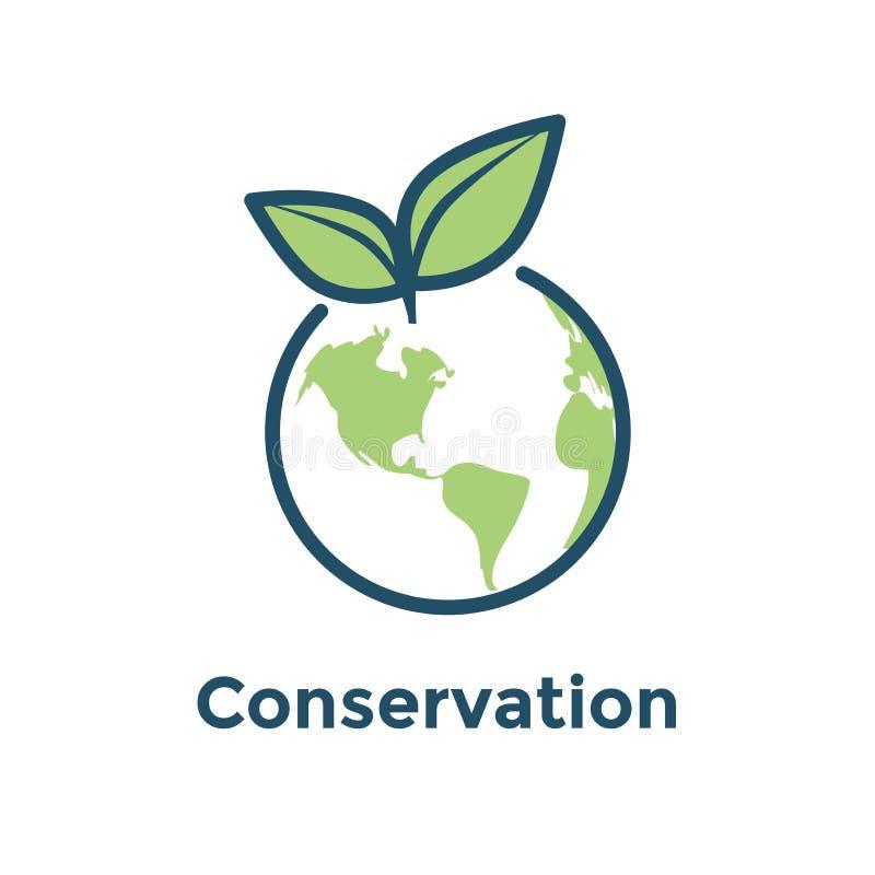 Icona ambientale globale della terra e della foglia dell'icona w di conservazione illustrazione di stock