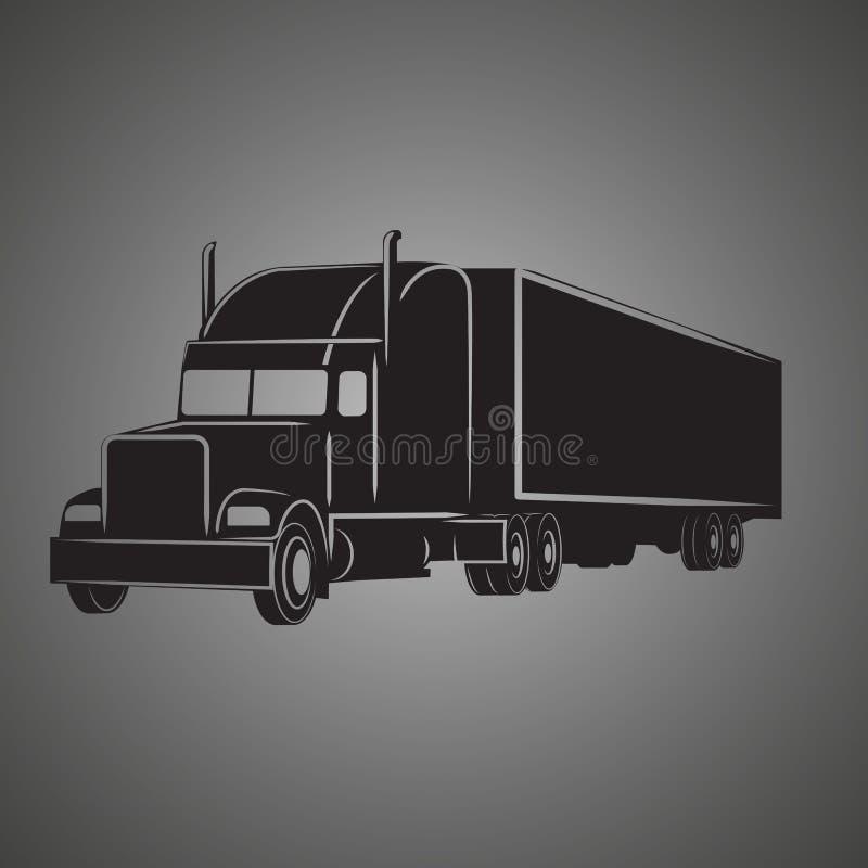 Icona americana classica dell'illustrazione di vettore del camion Retro camion del cargo illustrazione vettoriale