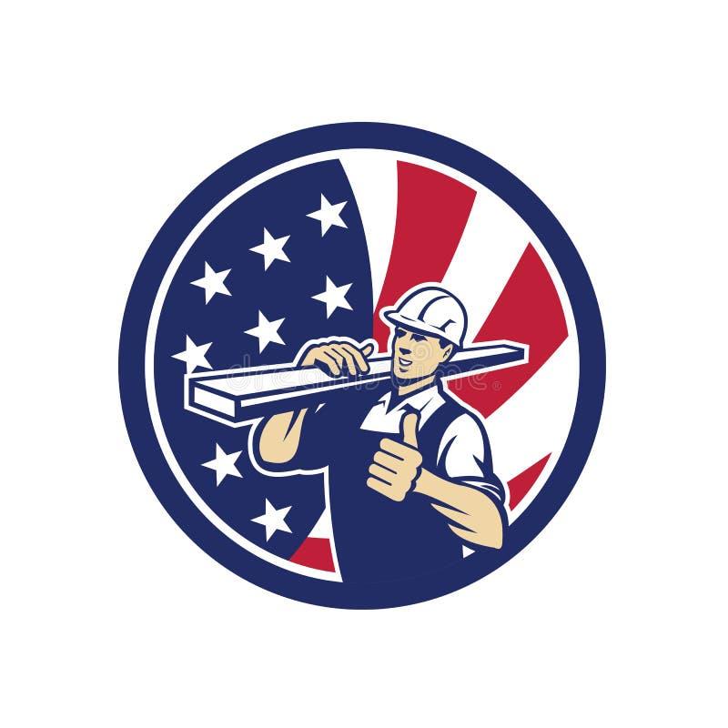Icona americana della bandiera di U.S.A. del lavoratore dell'iarda di legname illustrazione vettoriale