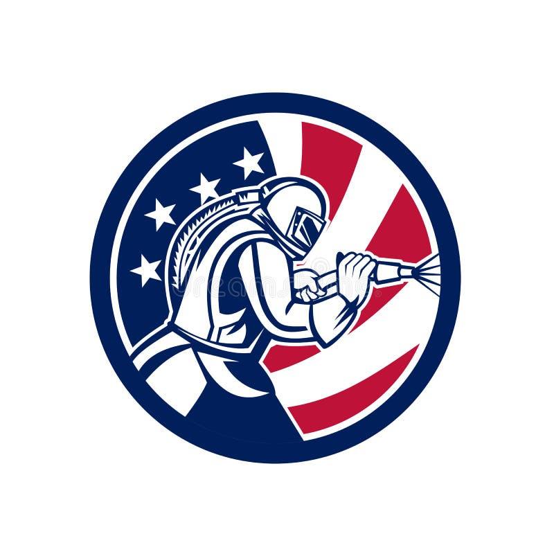 Icona americana della bandiera di U.S.A. di sabbiatura del sabbiatore immagini stock